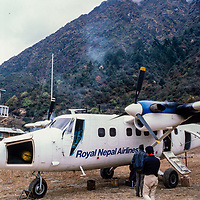 A Twin Otter STOL plane at Lukla airstrip in the Khumbu region of Nepal 1986.