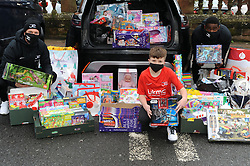 Sick Kids Dontation - Sick Kids Hospital, Edinburgh - 09-12-2020<br /> <br /> Alex Fyfe with Joe Cardle and Nat Wedderburn with toys for the kids in the Sick Kids in Edinburgh<br /> <br /> (c) David Wardle | Edinburgh Elite media