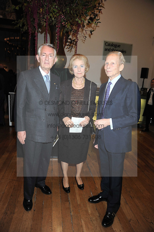 Left to right, the Greek Ambassador to the UK IOANNIS BOURLOYANNIS-TSANGARIDIS, MRS BOURLOYANNIS-TSANGARIDIS and MARINOS YEROULANOS at the opening of the Royal Academy of Arts Byzantium 330-1453 exhibition held at the RA, Burlington House, Piccadilly, London on 21st October 2008.