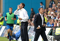 Photo: Ashley Pickering.<br /> Gillingham v Leeds United. Coca Cola League 1. 29/09/2007.<br /> Leeds manager Dennis Wise (R) and assistant Gus Poyet