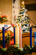 The lit Advent wreath on Wednesday, Dec. 9, 2020, at Zion Lutheran Church, Maryland Heights, Mo. LCMS Communications/Erik M. Lunsford