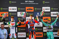 September 30, 2018 - Imola, BO, Italy - HERLINGS (NED), GAJSER (SLO) and DESALLE (BEL) show their trophies after the last race of 2018 World Championship in Imola. (Credit Image: © Riccardo Righetti/ZUMA Wire)