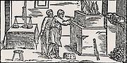 Assay laboratory, showing muffle furnace and balance, left.  From  'De la pirotechnia' by Vannoccio Biringuccio (Venice, 1540).