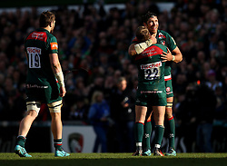 Graham Kitchener of Leicester Tigers celebrates with Mathew Tait of Leicester Tigers after their side's win over Wasps - Mandatory by-line: Robbie Stephenson/JMP - 25/03/2018 - RUGBY - Welford Road Stadium - Leicester, England - Leicester Tigers v Wasps - Aviva Premiership