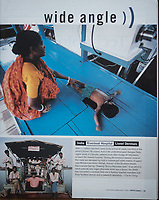 French writer Dominique Lapierre and his wife, also Dominique, have set up a charity in India to help villagers in the Sundarbans. They've turned old ferries into floating clinics. Picture published in Mother Jones (2000)