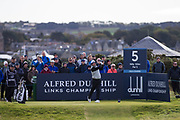 5th October 2017, The Old Course, St Andrews, Scotland; Alfred Dunhill Links Championship, first round; Lee Westwood tees off on the fifth
