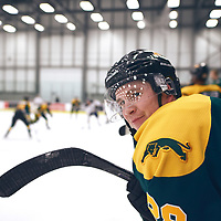 4th year defence man, Landon Peel (28) of the Regina Cougars during the Men's Hockey Home Game on Sat Oct 13 at Co-operators Center. Credit: Arthur Ward/Arthur Images