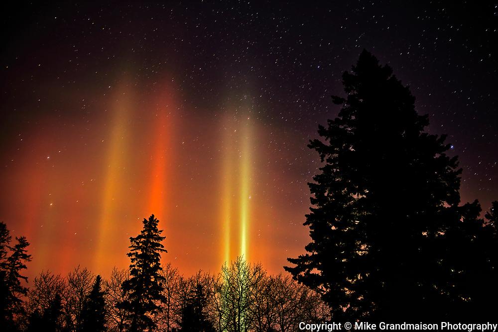 Light pillars at night<br />Birds Hill Provincial Park<br />Manitoba<br />Canada