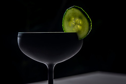 """""""Pirate Booty"""", one of the featured craft cocktails at the Lionfish, made with Grey Goose vodka, almond liqueur, basil, lime and cucumber."""