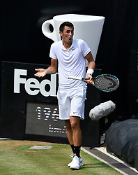 12.06.2015, Tennis Club Weissenhof, Stuttgart, GER, ATP Tour, Mercedes Cup Stuttgart, Viertelfinale, im Bild Bernard Tomic (AUS) Aktion Jubel jubelt Freude Emotion nach gewonnenem Punkt // during quarter Finals of Mercedes Cup of ATP world Tour at the Tennis Club Weissenhof in Stuttgart, Germany on 2015/06/12. EXPA Pictures © 2015, PhotoCredit: EXPA/ Eibner-Pressefoto/ Weber<br /> <br /> *****ATTENTION - OUT of GER*****