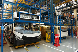 Interior of modern bus and coach manufacturing plant by  Alexander Dennis in Falkirk , Scotland, UK