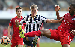 18 February 2017 - FA Cup, Fifth Round - Millwall v Leicester City<br /> Molls Wague of Leicester intercepts Steve Morison of Millwall<br /> Photo: Charlotte Wilson
