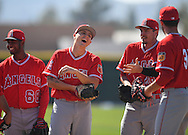 Pitcher Kevin Grendell shares a laugh with teammates during workouts at the Angels' Spring Training facility in Tempe, AZ on Wednesday, February 22, 2017. (Photo by Kevin Sullivan, Orange County Register/SCNG)