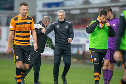 Alloa Athletic's manager Jim Goodwin at the end. Dunfermline 2 v 2 Alloa Athletic. Alloa win on penalties. Irn Bru cup game played 13/10/2018 at Dunfermline's home ground, East End Park.
