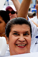 A protestor supporting President Micheletti rally outside the Presidents house in Tegucigalpa on July 3, 2009. Ousted president Zelaya is supposed to return this weekend, however Micheletti has promised to put him in jail if he enters the country.