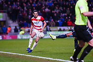 Niall Mason of Doncaster Rovers (2) plays the ball forward during the The FA Cup fourth round match between Doncaster Rovers and Oldham Athletic at the Keepmoat Stadium, Doncaster, England on 26 January 2019.