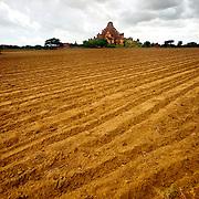 Fresh plowed field near Bagan temple