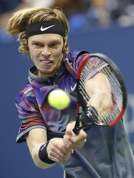 NEW YORK, Sept. 7, 2017  Andrey Rublev of Russia returns the ball to Rafael Nadal of Spain during the men's singles quarterfinal match at the 2017 U.S. Open in New York, the United States, Sept. 6, 2017. Andrey Rublev lost 0-3. (Credit Image: © Qin Lang/Xinhua via ZUMA Wire)
