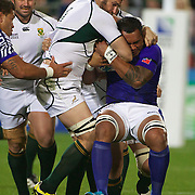 Danie Rossouw, South Africa, tackles Sakaria Taulafo, Samoa, during the South Africa V Samoa, Pool D match during the IRB Rugby World Cup tournament. North Harbour Stadium, Auckland, New Zealand, 30th September 2011. Photo Tim Clayton...