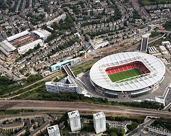 Image ©Licensed to i-Images Picture Agency. Aerial views. United Kingdom.<br />  Emirates stadium and Highbury, homes new and old of arsenal FC. Picture by i-Images