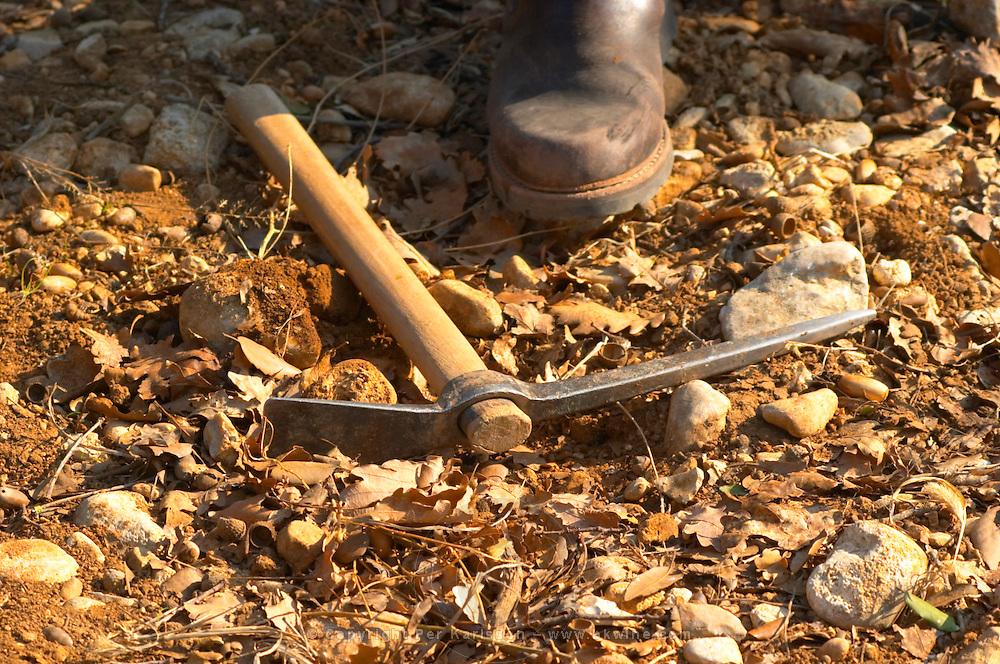 A truffle hunter's pick and boot at La Truffe de Ventoux truffle farm, Vaucluse, Rhone, Provence, France