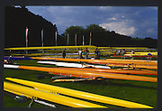 Lucerne, SWITZERLAND. General Views GV's. Boat Park Area 1988 with a good mixture of wooden and plastic boats  Lucerne International Regatta, Lake Rotsee. June 1988 [Mandatory Credit - Peter Spurrier/Intersport Images] 1988 Lucerne International Regatta