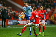 Accrington Stanley defender Callum Johnson (2) on the ball during the EFL Sky Bet League 1 match between Charlton Athletic and Accrington Stanley at The Valley, London, England on 19 January 2019.