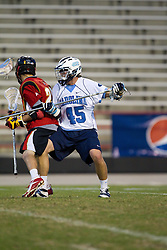 23 April 2010: North Carolina Tar Heels  defenseman Charlie McComas (45)  during a 13-5 loss to the Maryland Terrapins in the first round of the ACC Tournament at Byrd Stadium in College Park, MD.