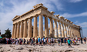 The Parthenon on the Acropolis (Greek for highest point) of Athens with the usual amount of tourists