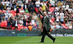 Former Tottenham Hotspur player Paul Gascoigne makes an appearance at high time during the Premier League match at Wembley Stadium, London.
