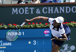March 7, 2019 - Los Angeles, California, U.S - Venus Williams of USA, serves the ball to Andrea Petkovic of Germany, during the women singles first round match of the BNP Paribas Open tennis tournament on Thursday, March 7, 2019 in Indian Wells, California. Williams won 2-1. (Credit Image: © Ringo Chiu/ZUMA Wire)