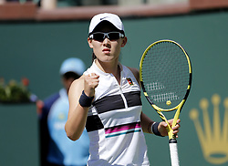 March 7, 2019 - Los Angeles, California, U.S - Saisai Zheng of China, celebrates her points against Kristina Mladenovic of France, during the women singles first round match of the BNP Paribas Open tennis tournament on Thursday, March 7, 2019 in Indian Wells, California. Mladenovic won 2-0. (Credit Image: © Ringo Chiu/ZUMA Wire)