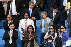 Manchester City's Thaksin Shinawatra (front row second left) and wife Pojaman in the stands with adviser Pairoj Piempongsant, agent Kia Joorabchian and private financier Amanda Staveley