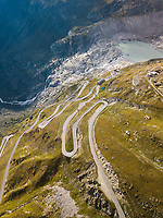 Aerial View of Swiss Mountain Road in Furkapass, Switzerland