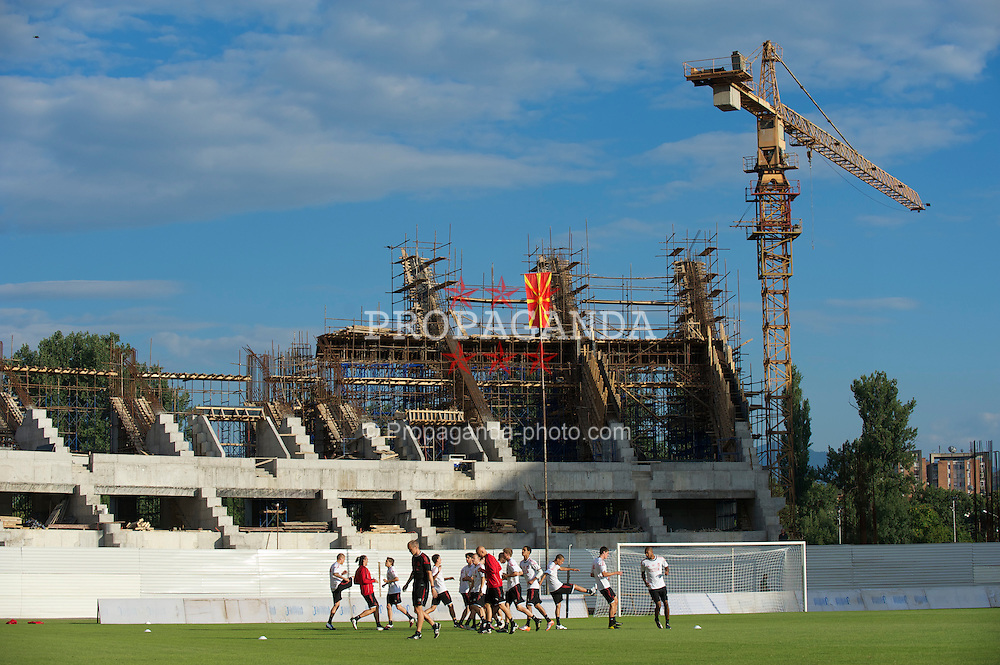 SKOPJE, MACEDONIA - Wednesday, July 28, 2010: Liverpool's players during a training session at the half-built National Arena Filip II Stadium ahead of the UEFA Europa League 3rd Qualifying Round 1st Leg match against FK Rabotnicki. (Pic by David Rawcliffe/Propaganda)