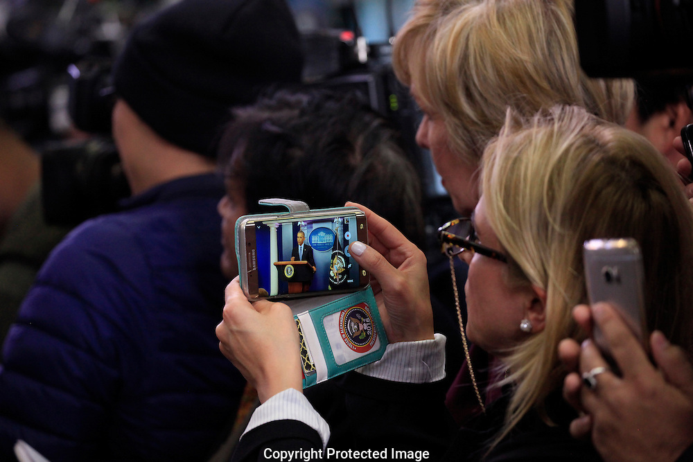 The media at the last press conference of President Barak Obama in the White House press briefing room on January 18, 2017.<br /> <br /> Photo by Dennis Brack