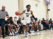 NORTH AUGUSTA, SC. July 10, 2019. Collin Moore 2020 #12 of Woodz Elite 17U at Nike Peach Jam in North Augusta, SC. <br /> NOTE TO USER: Mandatory Copyright Notice: Photo by Jon Lopez / Nike