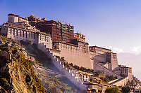 The Potala Palace (a UNESCO World Heritage Site) was the chief residence of the Dalai Lama until the 14th Dalai Lama fled to Dharamsala, India, during the 1959 Tibetan uprising. The massive palace contains 999 rooms. Lhasa, Tibet, China.