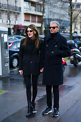 Anna Dello Russo wears a black blazer jacket, black suit pants, sunglasses, outside Valentino, during Paris Fashion Week Womenswear Fall/Winter 2018/2019, on March 4, 2018 in Paris, France.  (Photo by Nataliya Petrova/NurPhoto/Sipa USA)