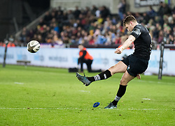 Ospreys' Dan Biggar converts<br /> <br /> Photographer Simon King/Replay Images<br /> <br /> Guinness PRO14 Round 19 - Ospreys v Connacht - Friday 6th April 2018 - Liberty Stadium - Swansea<br /> <br /> World Copyright © Replay Images . All rights reserved. info@replayimages.co.uk - http://replayimages.co.uk