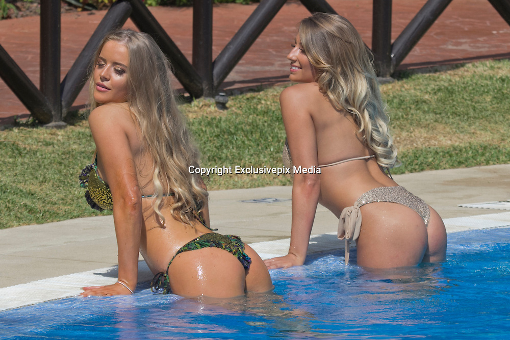 EXCLUSIVE<br /> Ex on the beach star Megan Clark and Sophie Whitaker from ITV's Take Me Out ,showing off there toned bodies as they take a dip in the pool in Marbella<br /> ©Exclusivepix Media