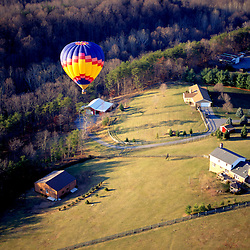 Aerial view of Balloon flying in western maryland