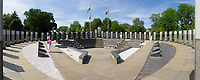 Maryland World War II Memorial. The memorial is an open, four-sided amphitheater, surrounded by 48, nine-foot tall columns representing the then-48 states.