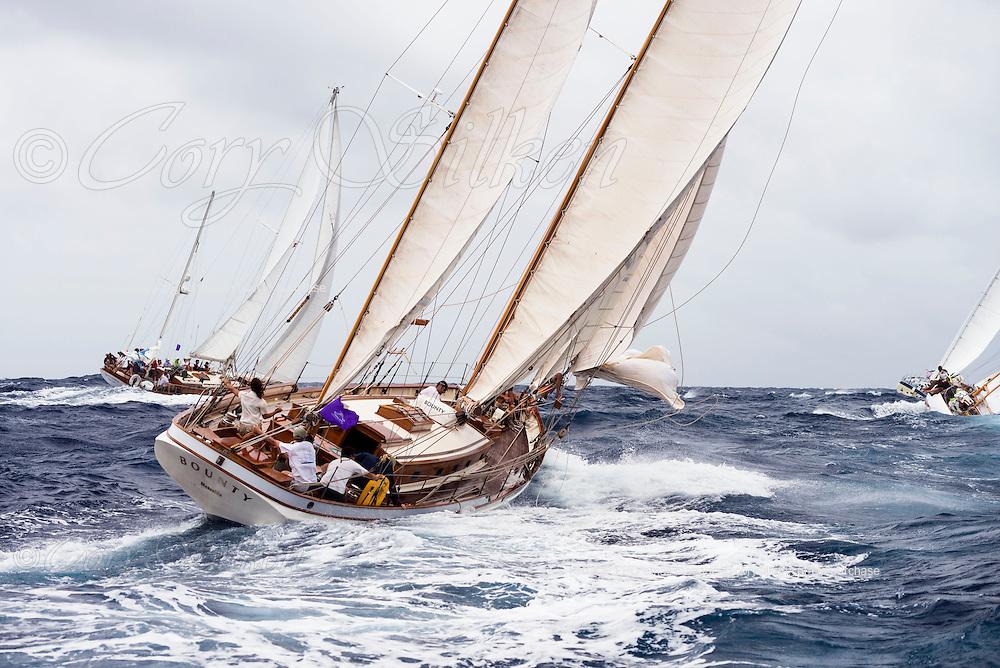 Bounty sailing in the Antigua Classic Yacht Regatta, Butterfly Race.