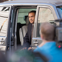 Tamas Gyarfas vice-president of FINA swimming association arrives to a court ruling connected to his arrest in a murder case in Budapest, Hungary on April 20, 2018. ATTILA VOLGYI