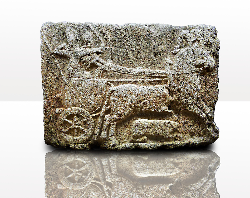 Picture & image of a Neo-Hittite orthostat with a chariot Releif sculpture from Karkamis,, Turkey.Museum of Anatolian Civilisations, Ankara. The Cahiot is pulled by horses with plumed headresses. One man os about to shoot an arrow from his bow, the other man is driving the cahriot. Below the horse is a animal cowering. 2