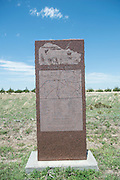 Monuments installed by Beaver County Historical Society along Highway 3 explains No Man's Land of the Oklahoma Panhandle.