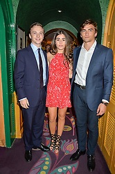 Left to right, CHARLIE ASTOR, BEATRIZ CALLAGHAN and JOSE MARTINEZ-ARTILES at a party for the UK launch of Mr Boho held at Annabel's, 44 Berkeley Square, London on 19th May 2016.
