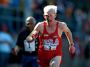 Mel Larson, age 79, wins the Masters age 75-and-over 100 meters in the 110th Penn Relays at  Franklin Field on Saturday, April 24, 2004 in Philadelphia.