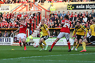 Michael Smith scores Swindon Towns 3rd goal during the Sky Bet League 1 Play Off Second Leg match between Swindon Town and Sheffield Utd at the County Ground, Swindon, England on 11 May 2015. Photo by Shane Healey.